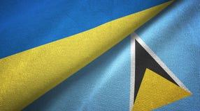 Ukraina Lucia i święty dwa flagi tekstylny płótno, tkaniny tekstura royalty ilustracja