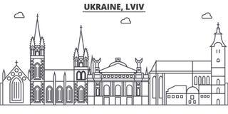 Ukraina, Lviv architektury linii linii horyzontu ilustracja Liniowy wektorowy pejzaż miejski z sławnymi punktami zwrotnymi, miast royalty ilustracja