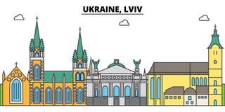 Ukraina, Lviv konturu miasto linia horyzontu, liniowa ilustracja, sztandar, podróż punkt zwrotny, budynek sylwetka, wektor royalty ilustracja