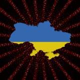 Ukraina mapy flaga na czerwonej hex kodu wybuchu ilustraci ilustracja wektor