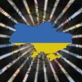 Ukraina mapy flaga na waluta wybuchu ilustraci fotografia stock