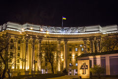 Ukraina ministerstwo Cudzoziemski - sprawy noc Gra główna rolę Mikhaylovsky kwadrat zdjęcia stock