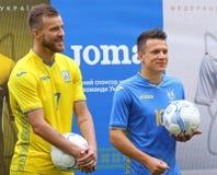 Ukraina nationell fotbollTeam New Jersey presentation royaltyfria bilder