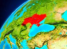Ukraina på jord från utrymme Arkivbild