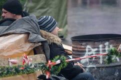 Ukraina som är euromaidan i Kiev Arkivfoto