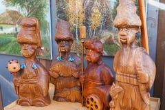 Ukraina träskulpturer, kosackar, historia, Arkivbilder
