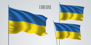 Ukraina vinkande flaggauppsättning av vektorillustrationen Fotografering för Bildbyråer