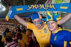 Ukraina vs den Frankrike matchen på euroet 2012 Royaltyfria Foton