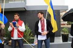Ukrainare i Cypern showsolidaritet arkivfoton
