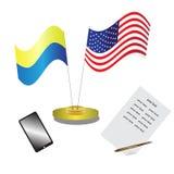 Ukrainare och amerikanska flaggan Arkivfoton