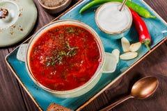 Ukrainare och rysk traditionell rödbetasoppa - borscht i lerakruka med gräddfil, kryddan, vitlök, peppar, torkade örter Royaltyfri Foto