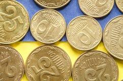 Ukrainaremynt på blått och guling Arkivbilder