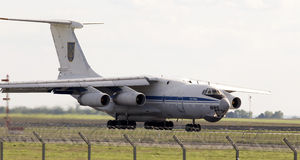 Ukraine Air Force IL-76MD aircraft landing on the runway Royalty Free Stock Image