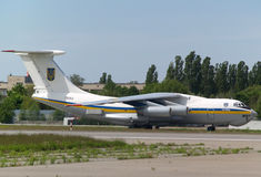 Ukraine Air Force IL-76MD aircraft landing on the runway Stock Image