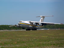 Ukraine Air Force IL-76MD aircraft landing on the runway Royalty Free Stock Photo