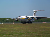 Ukraine Air Force IL-76MD aircraft landing on the runway Royalty Free Stock Images