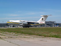 Ukraine Air Force IL-76MD aircraft landing on the runway Stock Images