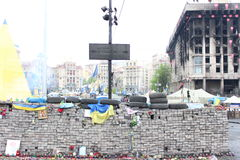 UKRAINE - APR 20, 2014: Downtown of Kiev. Burned house unions and burnt signboard Khreschatyk Street. Riot in Kiev and Weste. KIEV, UKRAINE - APR 20, 2014 Stock Image