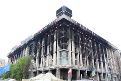 UKRAINE - APR 20, 2014: Downtown of Kiev. Burned house unions. Riot in Kiev and Western Ukraine.April 20, 2014 Kiev, Ukraine. KIEV, UKRAINE - APR 20, 2014 Royalty Free Stock Photos