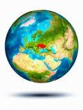 Ukraine auf Erde mit weißem Hintergrund Lizenzfreie Stockfotos