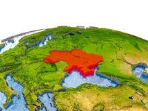 Ukraine auf Modell von Erde Stockbild