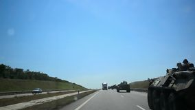 UKRAINE 15 AUGUST 2014, Russian armoured trucks go stock video