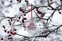 Ukraine bauble on rowan branch Stock Image