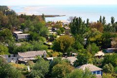 Mariupol. Ukraine. Beautiful view from above the city of Mariupol located on the coast of the Azov Sea on a fall day Stock Photos