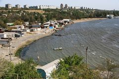 Mariupol. Ukraine. Beautiful view from above the city of Mariupol located on the coast of the Azov Sea on a fall day Stock Photography