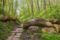 UKRAINE, BELAYA TSERKOV : Passageway through the stones in in th Royalty Free Stock Images