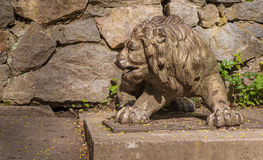 UKRAINE, BELAYA TSERKOV : Source. UKRAINE, BELAYA TSERKOV - APRIL 18, 2016: Source The Lion in the park Alexandria in the spring, Belaya Tserkov royalty free stock images