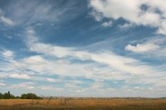 Ukraine Berdyansk summer sky landscape. Ukraine - Berdyansk summer blue sky landscape Stock Photo