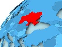 Ukraine on blue globe. Ukraine in red on blue model of political globe. 3D illustration Stock Images