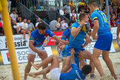 Ukraine blue vs Azerbaijan. MOSCOW, RUSSIA - JULY 22-23, 2017: Rugby players in action at the  on European Beach Fives Rugby Championship 2017 in the match Stock Photos