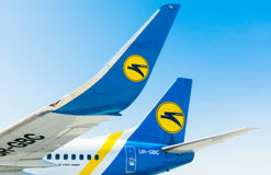 Ukraine, Borispol.  Kiel and winglets Boeing 737 with the logo of the airline in Borispol International Airport . Stock Photo