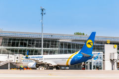 Ukraine, Borispol - 22. Mai: Boeing 737-800 am Anschluss an internationalem Flughafen Borispol am 22. Mai 2015 in Borispol, Ukrai Lizenzfreies Stockfoto