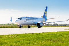 Ukraine, Borispol - 22. Mai: Das Boeing 737 vor Start an internationalem Flughafen Borispol am 22. Mai 2015 in Borispol, Ukraine Stockfotos