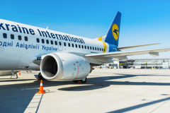 Ukraine, Borispol - MAY 22 : The Boeing 737 before flying to Boryspil International Airport on May 22, 2015 in Borispol, Ukraine Royalty Free Stock Photo