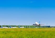 Ukraine, Borispol - MAY 22 : Boeing is landing at Borispol International Airport on May 22, 2015 in Borispol, Ukraine Royalty Free Stock Image