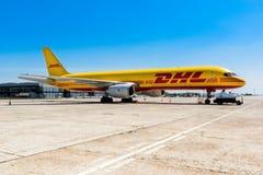 Ukraine, Borispol - MAY 22 : The Boeing 757-200 to transport cargo company DHL at Borispol International Airport on May 22, 2015 Stock Photos