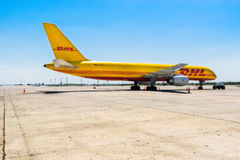 Ukraine, Borispol - MAY 22 : The Boeing 757-200 to transport cargo company DHL at Borispol International Airport on May 22, 2015 Royalty Free Stock Photography