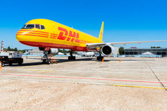 Ukraine, Borispol - MAY 22 : The Boeing 757-200 to transport cargo company DHL at Borispol International Airport on May 22, 2015 Stock Photography