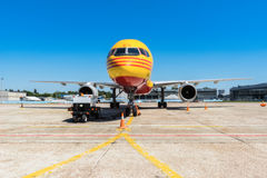 Ukraine, Borispol - MAY 22 : The Boeing 757-200 to transport cargo company DHL at Borispol International Airport on May 22, 2015 Royalty Free Stock Photo