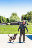 Ukraine, Borispol - MAY 22 : Dog Service Boryspil International Airport on May 22, 2015 in Borispol, Ukraine Stock Photo