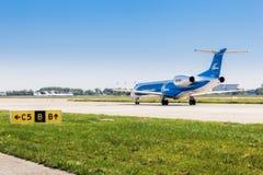 Ukraine, Borispol - MAY 22 : Embraer ERJ 145 family aircraft on the runway at Borispol International Airport on May 22, 2015 Royalty Free Stock Photos