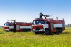 Ukraine, Borispol - MAY 22 : Fire Service International Airport Boryspil spends doctrines on suppression aircraft on May 22, 2015 Stock Photo
