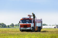 Ukraine, Borispol - MAY 22 : Fire Service International Airport Boryspil spends doctrines on suppression aircraft on May 22, 2015 Royalty Free Stock Photo