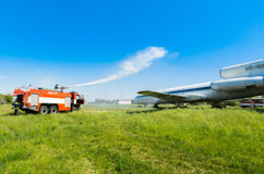 Ukraine, Borispol - MAY 22 : Fire Service International Airport Boryspil spends doctrines on suppression aircraft on May 22, 2015 Stock Images