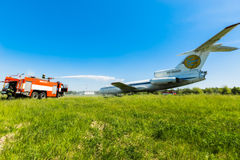 Ukraine, Borispol - MAY 22 : Fire Service International Airport Boryspil spends doctrines on suppression aircraft on May 22, 2015 Royalty Free Stock Photos