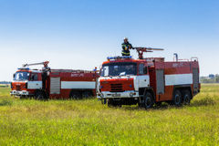 Ukraine, Borispol - MAY 22 : Fire Service International Airport Boryspil spends doctrines on suppression aircraft on May 22, 2015 Stock Photo